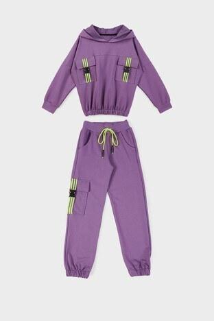 Lela - Lela % 100 Pamuklu Beli Paçası Lastikli Kapüşonlu Cepli Kız Çocuk Eşofman Takımı 593146 LİLA