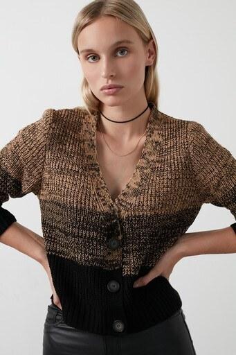 Lela % 100 Soft Akrilik Renk Bloklu Triko Örme Bayan Hırka 4615045 Camel-Siyah