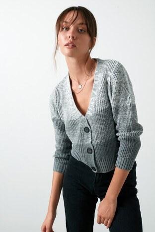 Lela - Lela % 100 Soft Akrilik Renk Bloklu Triko Örme Bayan Hırka 4615045 EKRU-GRİ