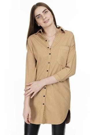 Lela - Lela Arkası Baskılı Bayan Gömlek MK19S162068 HARDAL