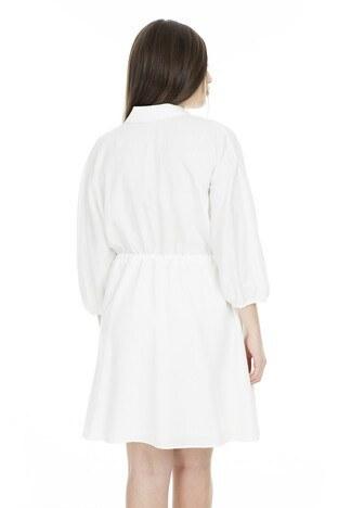 Lela Bağcıklı Düğmeli Bayan Elbise 61310 EKRU
