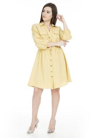 Lela Bağcıklı Düğmeli Bayan Elbise 61310 HARDAL