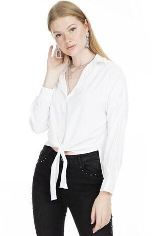 Lela - Lela Bağlama Detaylı Bayan Gömlek MK19S161963 EKRU