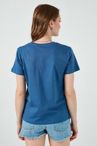 Lela Baskılı Bisiklet Yaka % 100 Pamuk Bayan T Shirt 6001014 İNDİGO