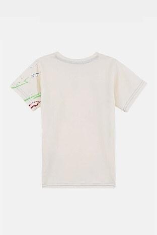 Lela Baskılı Bisiklet Yaka % 100 Pamuk Erkek Çocuk T Shirt 08348 EKRU