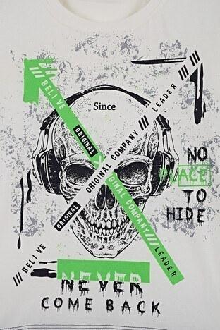 Lela Baskılı Bisiklet Yaka % 100 Pamuk Erkek Çocuk T Shirt 08395 EKRU