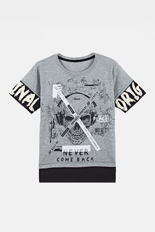 Lela Baskılı Bisiklet Yaka % 100 Pamuk Erkek Çocuk T Shirt 08395 GRİ