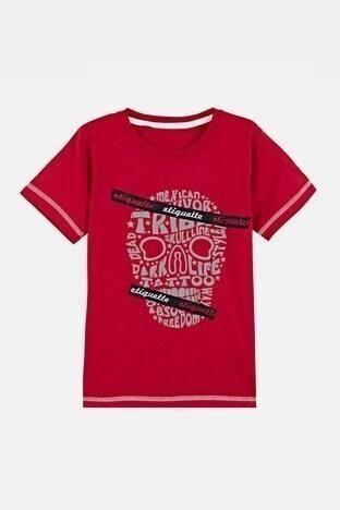 Lela - Lela Baskılı Bisiklet Yaka % 100 Pamuk Erkek Çocuk T Shirt 08411 KIRMIZI