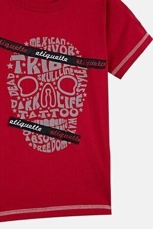 Lela Baskılı Bisiklet Yaka % 100 Pamuk Erkek Çocuk T Shirt 08411 KIRMIZI