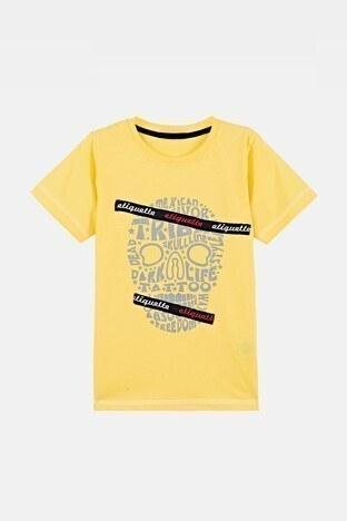Lela - Lela Baskılı Bisiklet Yaka % 100 Pamuk Erkek Çocuk T Shirt 08411 SARI
