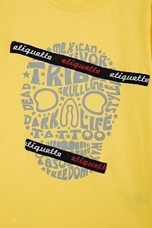 Lela Baskılı Bisiklet Yaka % 100 Pamuk Erkek Çocuk T Shirt 08411 SARI