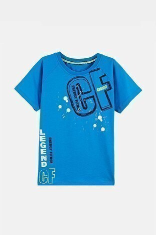 Lela - Lela Baskılı Bisiklet Yaka % 100 Pamuk Erkek Çocuk T Shirt 08441 SAKS