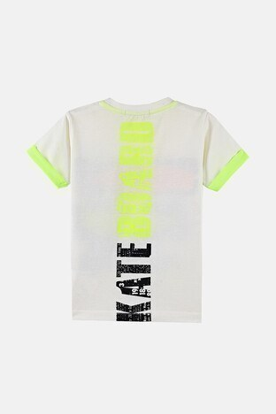 Lela Baskılı Bisiklet Yaka % 100 Pamuk Erkek Çocuk T Shirt 08460 EKRU
