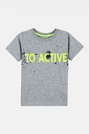 Lela - Lela Baskılı Bisiklet Yaka % 100 Pamuk Erkek Çocuk T Shirt 08472 GRİ