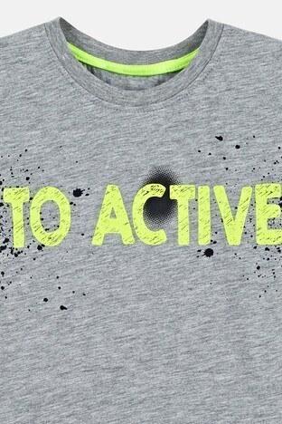Lela Baskılı Bisiklet Yaka % 100 Pamuk Erkek Çocuk T Shirt 08472 GRİ