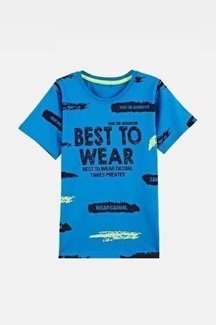 Lela - Lela Baskılı Bisiklet Yaka % 100 Pamuk Erkek Çocuk T Shirt 08473 SAKS