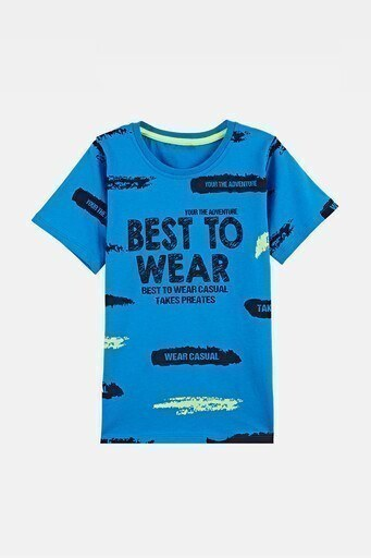 Lela Baskılı Bisiklet Yaka % 100 Pamuk Erkek Çocuk T Shirt 08473 SAKS