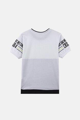 Lela Baskılı Bisiklet Yaka % 100 Pamuk Erkek Çocuk T Shirt 08575 BEYAZ