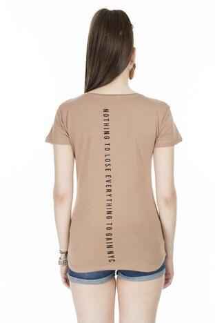 Lela Baskılı Bisiklet Yaka Bayan T Shirt 5411013 BİSKÜVİ