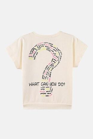 Lela Baskılı Bisiklet Yaka Kanguru Cepli Pamuklu Kız Çocuk T Shirt 08504 EKRU