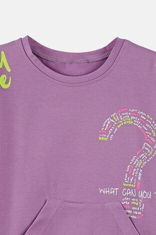 Lela Baskılı Bisiklet Yaka Kanguru Cepli Pamuklu Kız Çocuk T Shirt 08504 LİLA