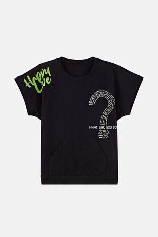 Lela - Lela Baskılı Bisiklet Yaka Kanguru Cepli Pamuklu Kız Çocuk T Shirt 08504 SİYAH