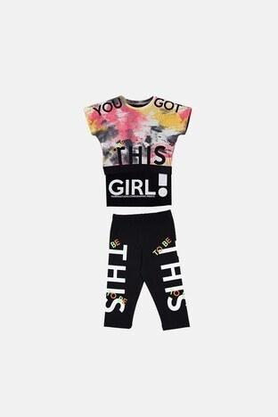 Lela - Lela Baskılı Bisiklet Yaka Pamuklu 3Lü Kız Çocuk Takım 08538 NAR ÇİÇEĞİ