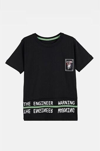 Lela Baskılı Bisiklet Yaka Pamuklu Erkek Çocuk T Shirt 08328 SİYAH