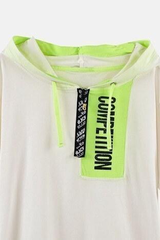 Lela Baskılı Kapüşonlu % 100 Pamuk Erkek Çocuk T Shirt 08415 EKRU