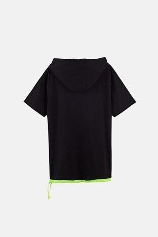 Lela Baskılı Kapüşonlu % 100 Pamuk Erkek Çocuk T Shirt 08415 SİYAH