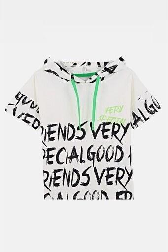 Lela Baskılı Kapüşonlu % 100 Pamuk Erkek Çocuk T Shirt 08431 EKRU