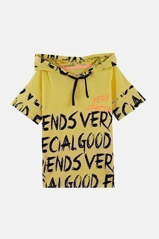 Lela - Lela Baskılı Kapüşonlu % 100 Pamuk Erkek Çocuk T Shirt 08431 SARI