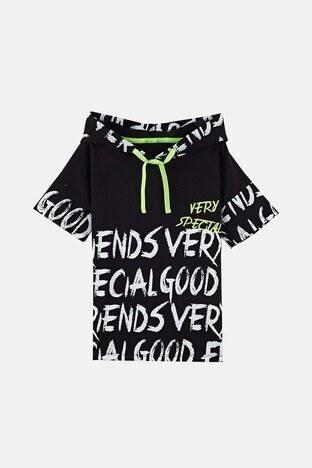 Lela Baskılı Kapüşonlu % 100 Pamuk Erkek Çocuk T Shirt 08431 SİYAH
