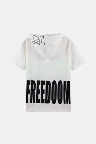 Lela Baskılı Kapüşonlu % 100 Pamuk Erkek Çocuk T Shirt 08462 EKRU