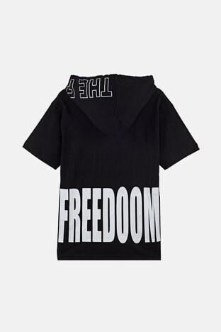 Lela Baskılı Kapüşonlu % 100 Pamuk Erkek Çocuk T Shirt 08462 SİYAH