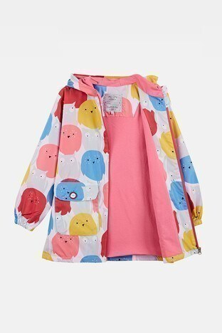 Lela Baskılı Kapüşonlu Cepli Kız Çocuk Yağmurluk 08596 PEMBE-BEYAZ