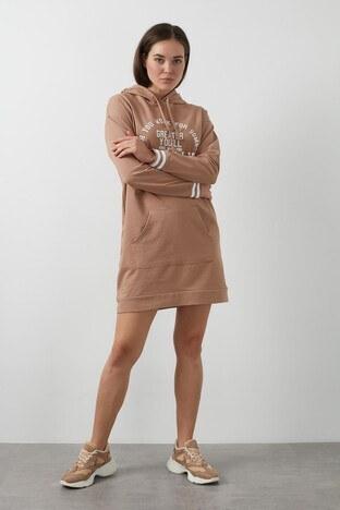 Lela Baskılı Kapüşonlu Sweat Bayan Elbise 5202014 VİZON
