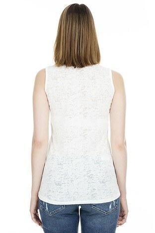 Lela Baskılı Kolsuz Kadın T Shirt 4491002 EKRU