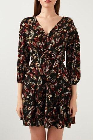 Lela Baskılı Kruvaze Yaka Mini Bayan Elbise 5203176 SİYAH-SARI