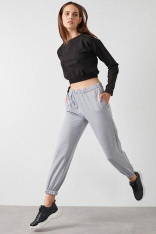Lela - Lela Beli ve Paçası Lastikli Basic Jogger Örme Bayan Eşofman Altı 5413026 GRİ