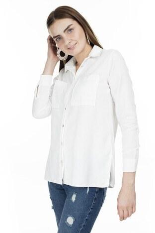 Lela - Lela Cep Detaylı Bayan Gömlek MK19W162223 BEYAZ