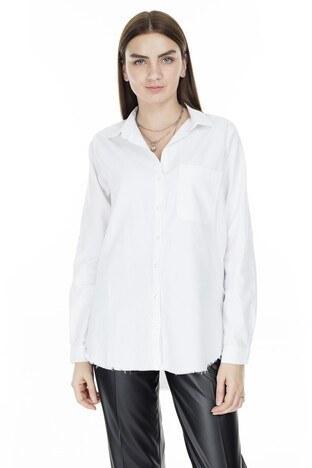 Lela Cep Detaylı Uzun Kol Bayan Gömlek MK19S161992 BEYAZ