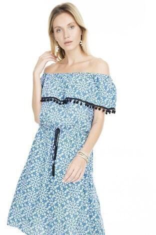 Lela Çiçek Desenli Carmen Yaka Bayan Elbise 5202790 MAVİ