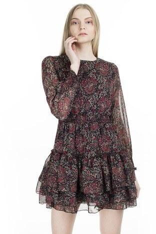 Lela Çiçek Desenli Eteği Fırfırlı Mini Bayan Elbise 6260520 SİYAH-KIRMIZI