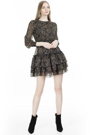 Lela - Lela Çiçek Desenli Eteği Fırfırlı Mini Bayan Elbise 6260520 SİYAH-YEŞİL