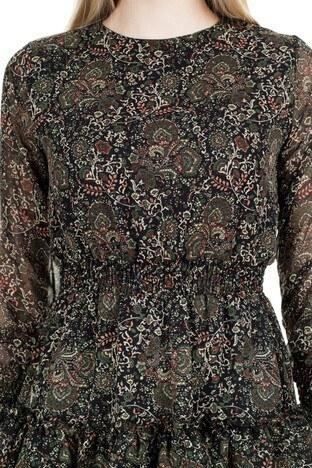 Lela Çiçek Desenli Eteği Fırfırlı Mini Bayan Elbise 6260520 SİYAH-YEŞİL