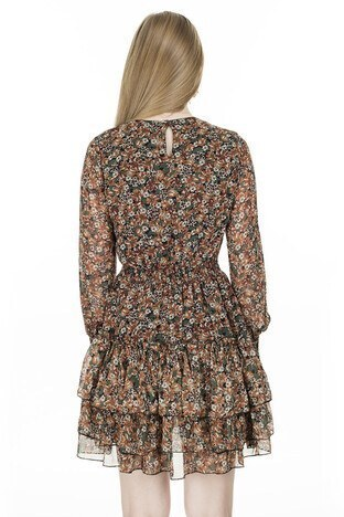 Lela Çiçek Desenli Şifon Bayan Elbise 626520C KREM