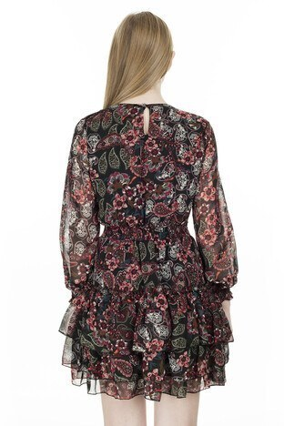 Lela Çiçek Desenli Şifon Bayan Elbise 626520S BORDO