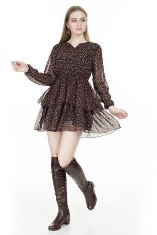 Lela Çiçek Desenli Şifon Mini Bayan Elbise 626511 KIRMIZI