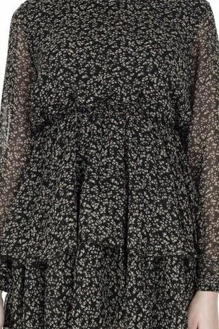 Lela Çiçek Desenli Şifon Mini Bayan Elbise 626511 SİYAH